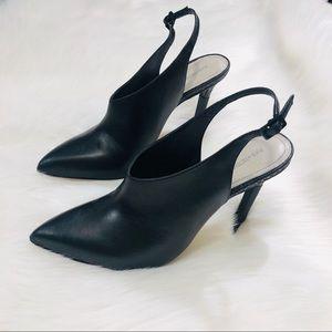 Pour La Victoire Leather Pointed Toe Bootie Heel